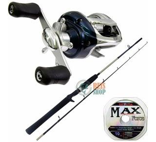 Kit Pesca Carretilha Tacom 9 Rolamentos + Vara + Linha Max