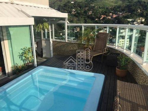 Cobertura Com 4 Dormitórios À Venda, 254 M² Por R$ 1.900.000,00 - Jardim Icaraí - Niterói/rj - Co0356