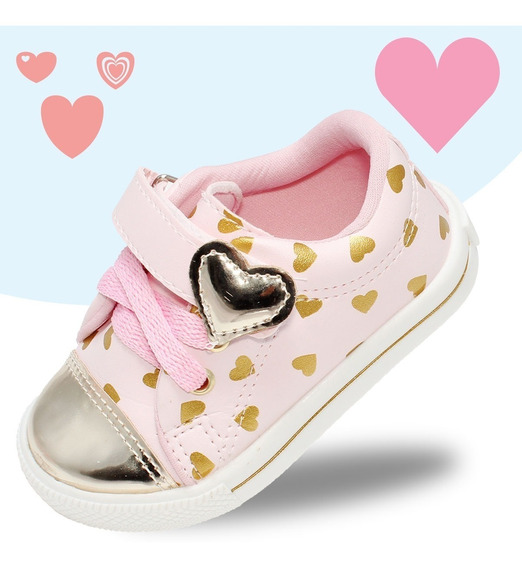 Tenis Infantil Feminino Meninas Love Princesas Rosa Dourado