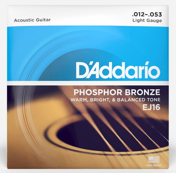 Encordadura Daddario Guitarra Acústica Ej16 -12/53 Bronce