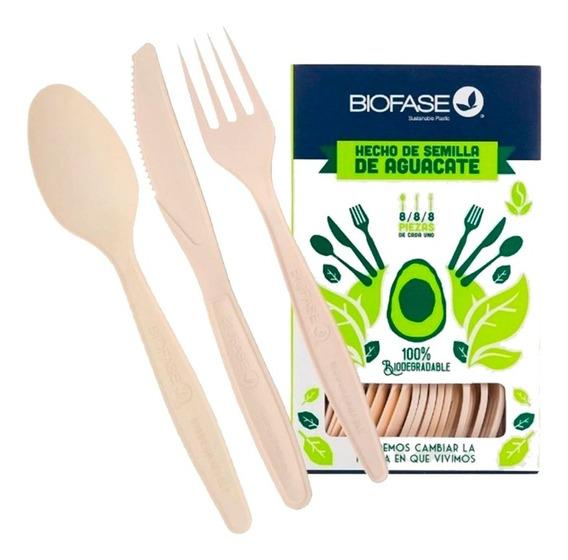 Caja 24 Cubiertos Biodegradable Ecológico Semilla Aguacate