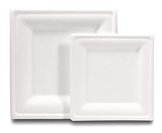 Plato Cuadrado 8×8 Caña De Azúcar Biodegradable (paquete)