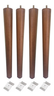 Kit 6 Pé Palito Madeira 35cm Moveis + Chapinha Chapa Inclina