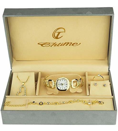Conjunto De Regalo Reloj Mujer Oro Joyas Conjunto Collar-ani
