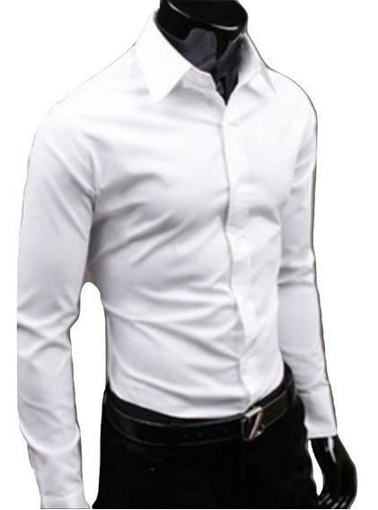 Camisa Elastizada Lisa Slim Fit Entallada Hombre Be Yourself