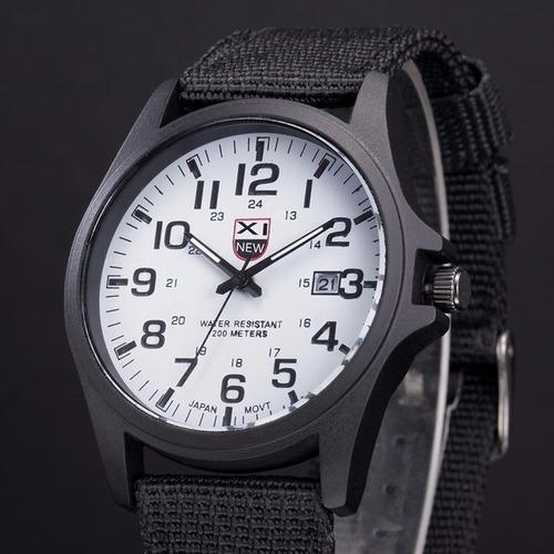 Reloj Cuarzo Analogo Militar Lona Susenstone Blanco Negro