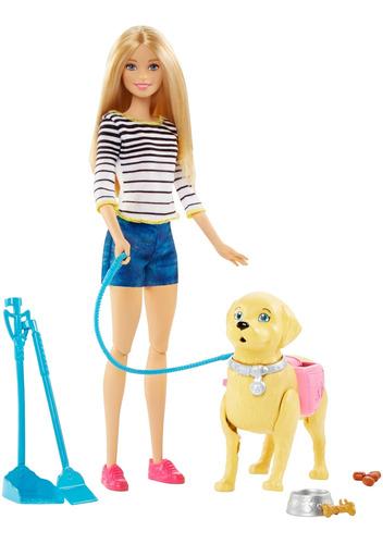 Barbie Paseo Perrito Muñeca Para Niñas