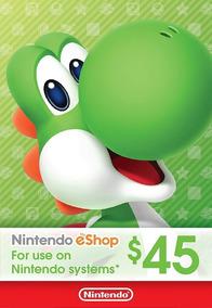 Cartão Nintendo Eshop Usa Switch 3ds Wii U Ecash $45 Dolares