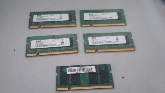 Lote 05 Memorias Ddr2 1gb Pra Notebook Maioria Smarts Funcionando