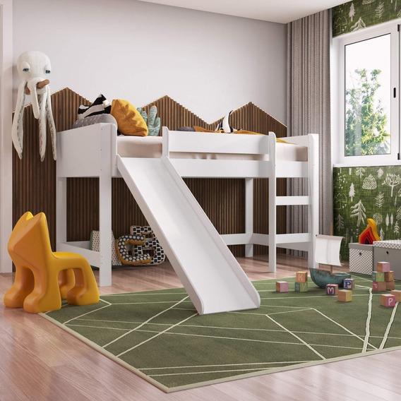 Cama Infantil Com Escorregador Cabana Cacá Siena Ee