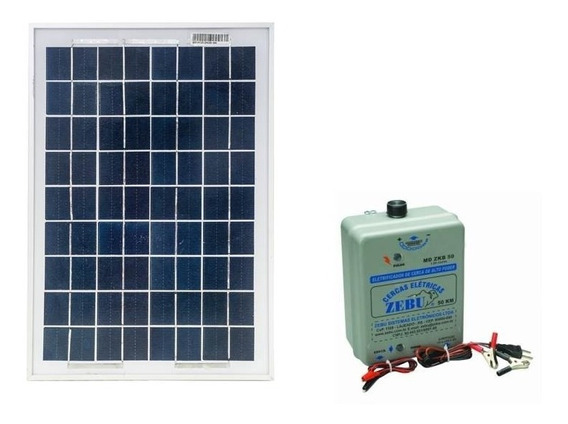 Kit Eletrificador De Cerca Animal 50 Km Zebu + Placa Solar