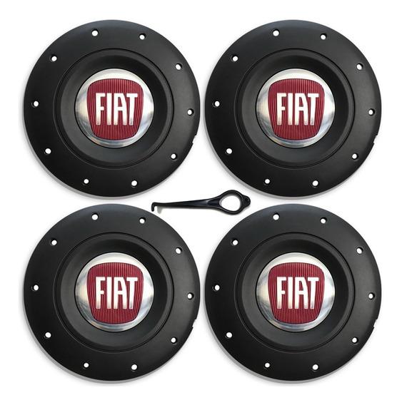 Jogo Calota Central Fiat Aro 13 14 15 Roda De Ferro Com Emb