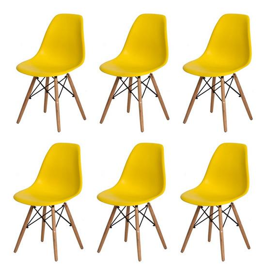 6 Cadeiras Charles Eames Eiffel Base Madeira Varias Cores