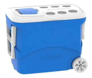 Caixa Térmica Cooler 50 Litros Rodas Azul Vermelha - Soprano