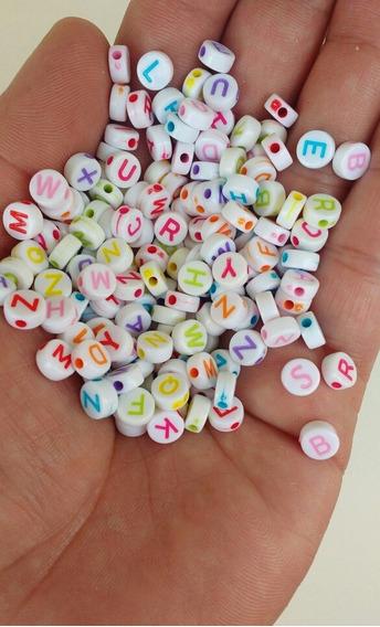 1.000 Miçanga Entremeio Letras Alfabeto 6mm Infantil