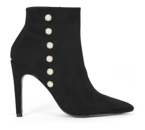 Zapatos Dama Botines Negros Gamusa Perlas Moda 8325