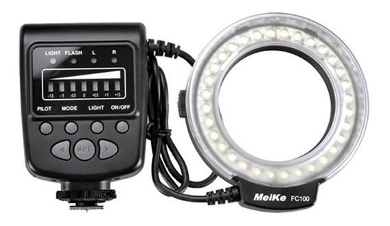 Flash Circular Macro Meike Fc100 Para Câmera Nikon E Canon
