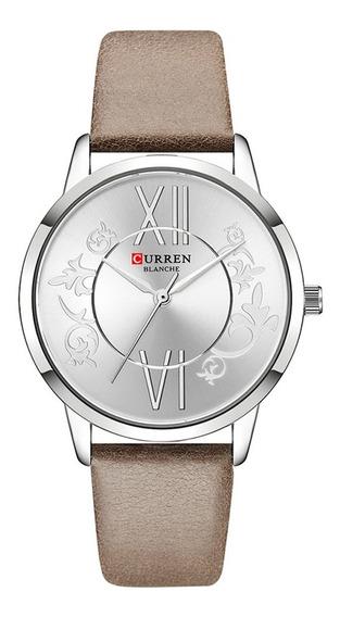 Relógio Feminino Curren Analógico C9049l - Prata E Marrom