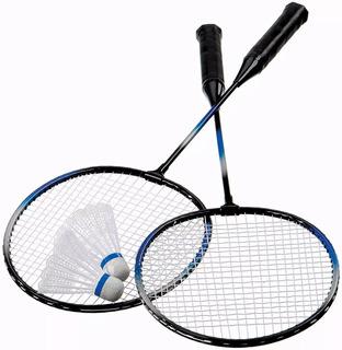 Par Raquetes De Badminton + 2 Petecas + Nf