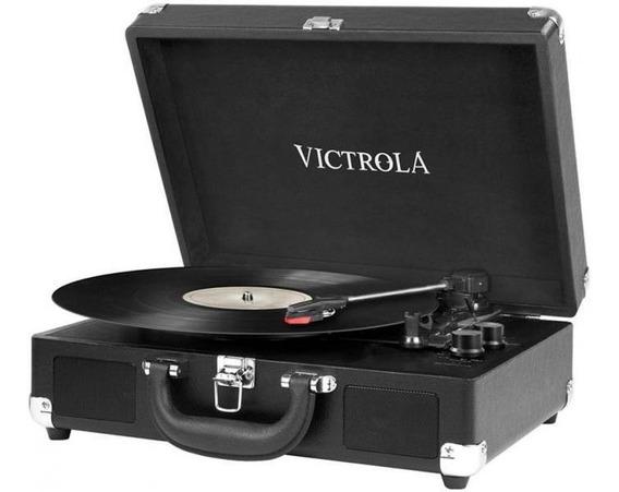 Toca Discos Maleta Victrola Vsc-550bt-blk Preto - 6w Rms