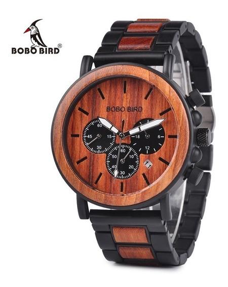 Reloj De Madera Bobo Bird Original Café Obscuro P09