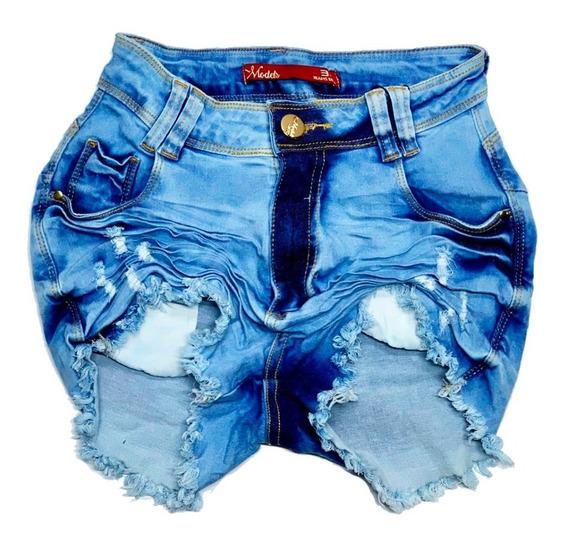 Short Bermuda Jeans Feminina Levanta Bumbum Premium Luxo