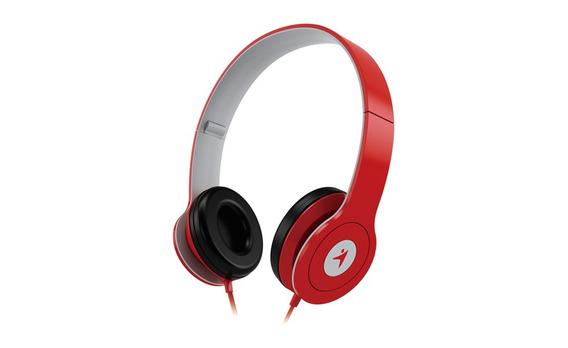 Headphone Dobrável Com Microfone Controle De Volume Vermelho