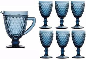 1 Jarra 1 Litro + 6 Taças Vinho 210 Ml Bico De Abacaxi Azul
