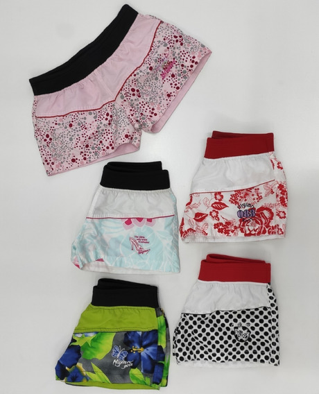 Kit 5 Shorts Tactel Femininos Liquida Estoque Últimas Peças