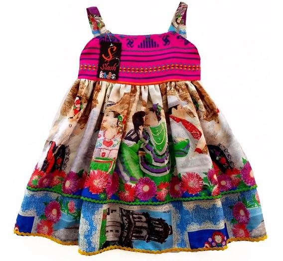 Vestido Mexicano Infantil Doble Capa Cambaya Tejida Patria