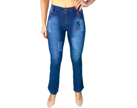 Calça Jeans Feminina Flare Cós Alto Hot Pants