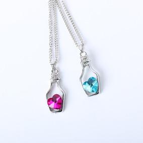 Colar Garrafa Coração Cristal Azul E Rosa 2 Peças Promoção