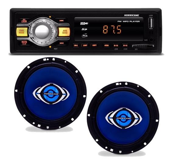 Rádio Mp3 Usb Fm Sd Kit Hurricane + Par Auto Falante 6