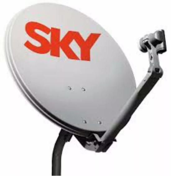 1 Antena Ku 60cm Sky 1 Lnb Duplo 1 Kit Cabo Rg59 De 17mts