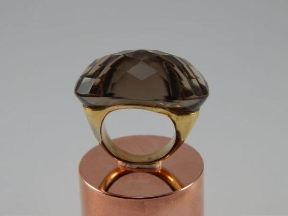 Anel Banhado A Ouro Aro 16 Pedra Cristal Fumê Natural An008