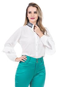 Camisa Kímika Coleção Bossa Nova Branca Com Bordado Azul