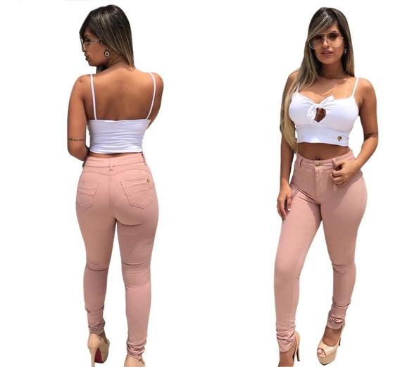 Calça Feminina Jeans Hot Pants Rosa Rasgada Skinny Cós Alto