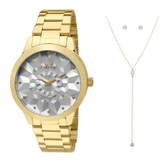 Relógio Condor Feminino Co2036koe/k4c + Colar + Brincos