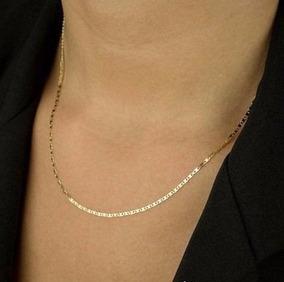 Corrente Feminino Piastrine Maciça Em Ouro 18k-750