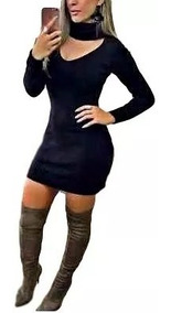 Vestido Tricot Mini-vest Gola Alta Tecido Grosso Ref-297