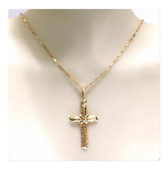 Corrente De 50cm 1.3 Grs E Pingente Crucifixo Joia Ouro 18k