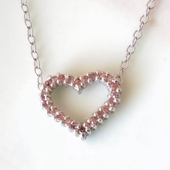 Collar Corazón Con Diamantes Rosas De 41cm Oro Blanco 14k