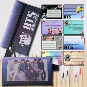 Kit Kpop Bts - Estojo + 16 Etiquetas Escolares