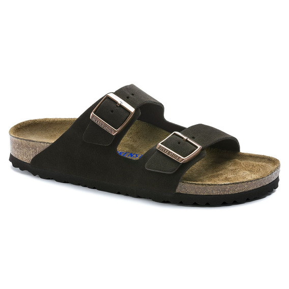 Birkenstock Sandália Arizona Suede Soft Footbed Narrow Marrom + Barato