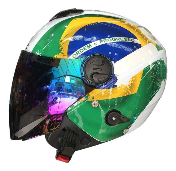 Capacete New Atomic Brasil Pro Tork + Viseira Camaleão