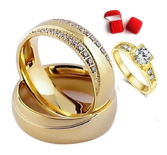 Par De Alianças Casamento E Noivado Banhada+anel Solitario