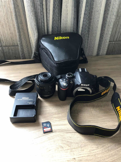 Nikon D3200 + Lente 18-55 Mm + Cartão De Memória 32gb