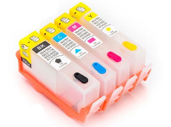 Kit Cartucho Recarregável Com Chip Hp 5525/3525/4615/25/6525