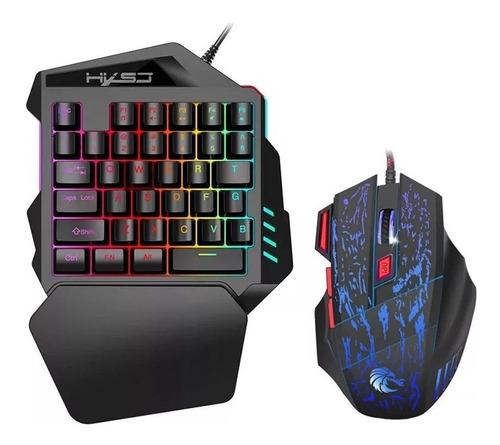 Imagen 1 de 2 de Kit de teclado y mouse gamer HXSJ J50 teclado negro, mouse negro y azul