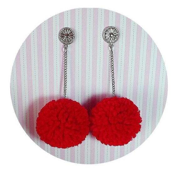 Lindos Brincos Luxo Baphônicos De Pompom Vermelho Paixão Pop